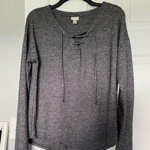 Grey Tie Front Sweater
